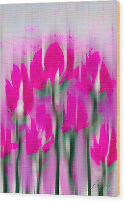 Wood Print featuring the digital art 6 1/2 Flowers by Frank Bright