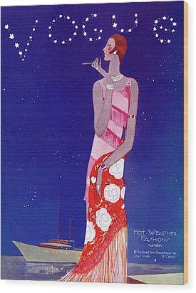 A Vintage Vogue Magazine Cover Of A Woman Wood Print by Eduardo Garcia Benito