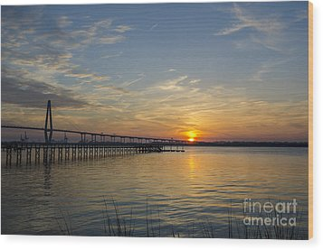 Wood Print featuring the photograph Arthur Ravenel Bridge Tranquil Sunset by Dale Powell