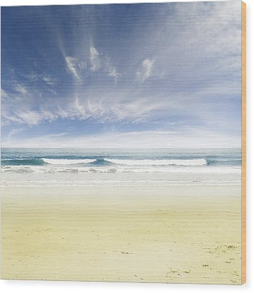 Beach Wood Print by Les Cunliffe