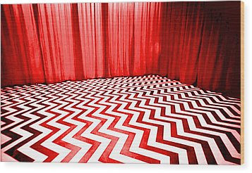Wood Print featuring the painting Black Lodge by Luis Ludzska