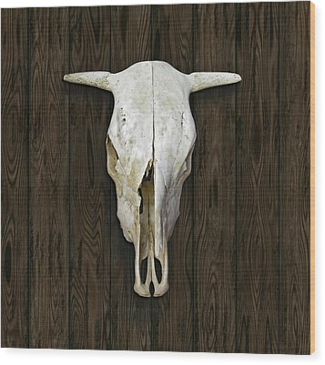 Cow Skull Wood Print by James Larkin