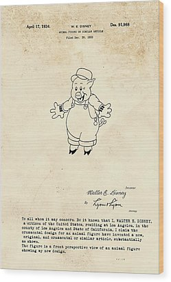 Disney Pig Patent Wood Print