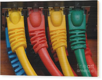 Ethernet Cables Plugged Into Router Wood Print by Amy Cicconi