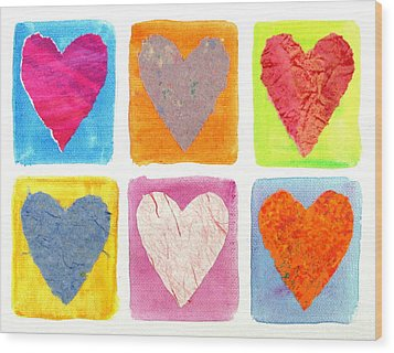 6 Hearts Collage Wood Print
