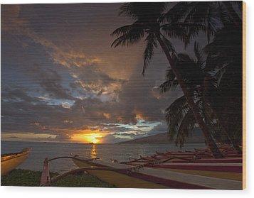 Kihei Canoes Wood Print by James Roemmling
