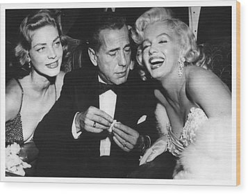 Marilyn Monroe Lauren Bacall Humphrey Bogart How To Marry A Millionaire Premiere November 4 1953 Wood Print
