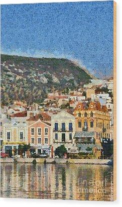 Mytilini Port Wood Print by George Atsametakis
