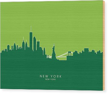 New York Skyline Wood Print by Michael Tompsett
