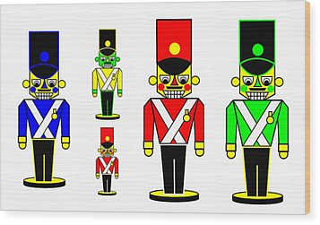 6 Nutcracker Soldiers On Black Wood Print by Asbjorn Lonvig