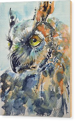Owl Wood Print by Kovacs Anna Brigitta