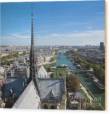 Paris Panorama France Wood Print by Michal Bednarek