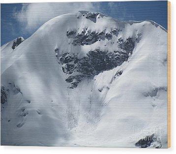 Peru Mountain Snow Wood Print by Ted Pollard