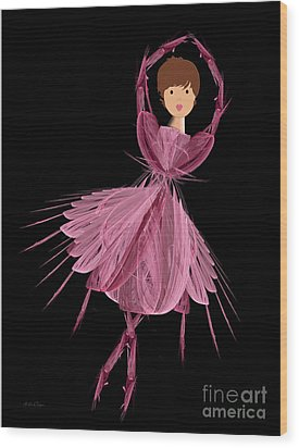 6 Pink Ballerina Wood Print by Andee Design