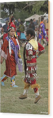 Pow Wow Wood Print by Stellina Giannitsi