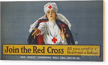 Red Cross Poster, 1917 Wood Print by Granger