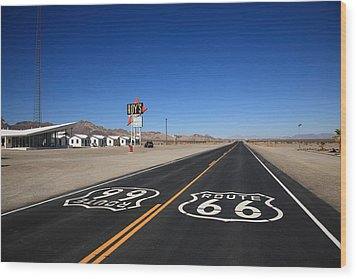 Route 66 Shield Wood Print by Frank Romeo