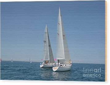 Sailboat Race Wood Print by Randy J Heath