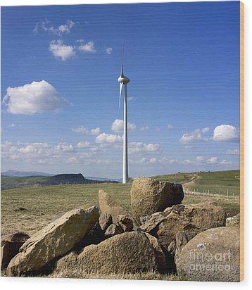 Wind Turbine Wood Print by Bernard Jaubert
