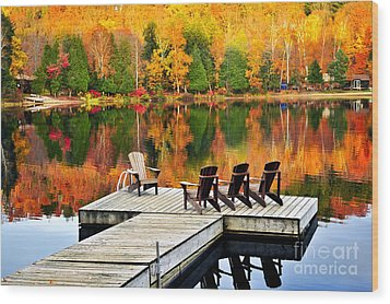 Wooden Dock On Autumn Lake Wood Print by Elena Elisseeva