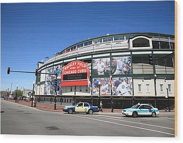 Wrigley Field - Chicago Cubs  Wood Print by Frank Romeo