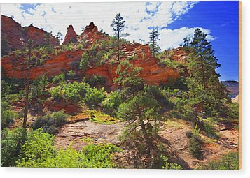 Wood Print featuring the photograph Zion National Park Utah Usa by Richard Wiggins