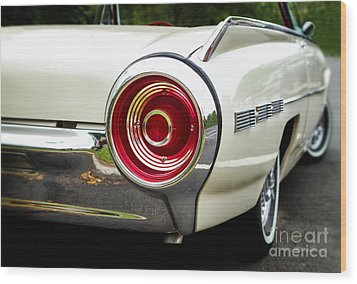 62 Thunderbird Tail Light Wood Print by Jerry Fornarotto