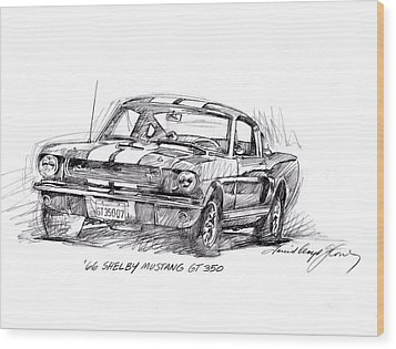 66 Shelby 350 Gt Wood Print by David Lloyd Glover