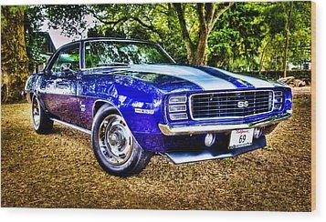 69 Chevrolet Camaro - Hdr Wood Print by motography aka Phil Clark