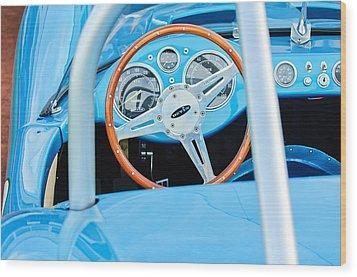 1959 Devin Ss Steering Wheel Wood Print by Jill Reger