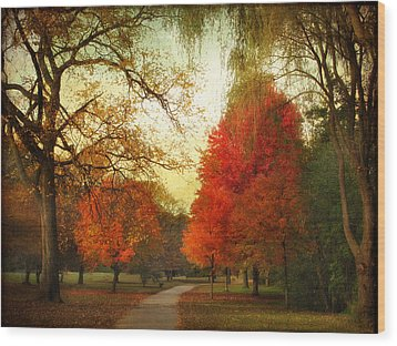 Wood Print featuring the photograph Autumn Promenade by Jessica Jenney