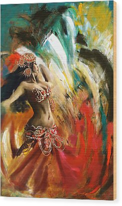 Abstract Belly Dancer 19 Wood Print by Corporate Art Task Force
