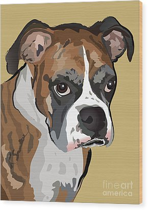 Boxer Dog Portrait Wood Print by Robyn Saunders