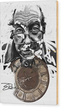 Digital Art - Er Ink Wood Print by Enache  Radu