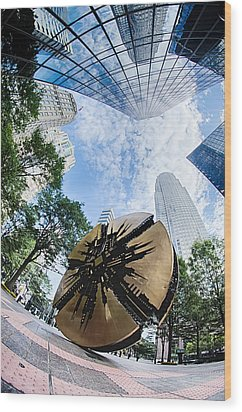 Financial Skyscraper Buildings In Charlotte North Carolina Usa Wood Print by Alex Grichenko