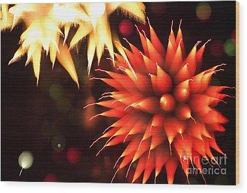 Fireworks Art Wood Print by Benjamin Simeneta