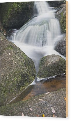 Landscape Of Becky Falls Waterfall In Dartmoor National Park Eng Wood Print by Matthew Gibson