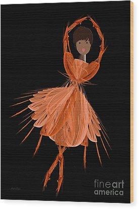 7 Orange Ballerina Wood Print by Andee Design