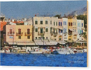 Painting Of The Old Port Of Chania Wood Print by George Atsametakis
