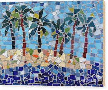7 Palm Trees Mosaic Wood Print by Lou Ann Bagnall