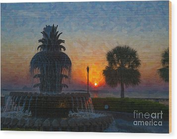 Pineapple Fountain At Dawn Wood Print