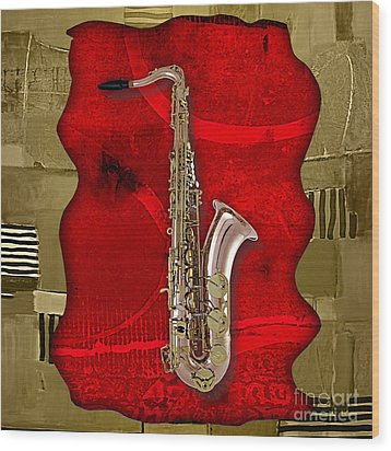 Saxophone Collection Wood Print