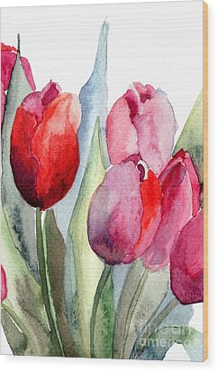 Tulips Flowers Wood Print