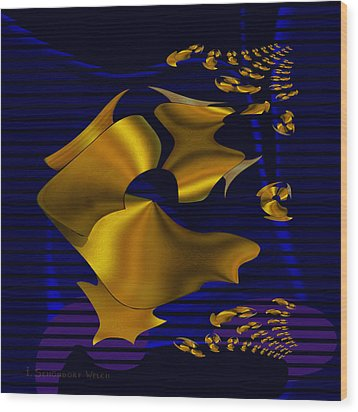 780 - Golden Foil Wood Print by Irmgard Schoendorf Welch