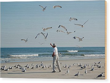 Wood Print featuring the photograph 79 Seagulls by Linda Brown