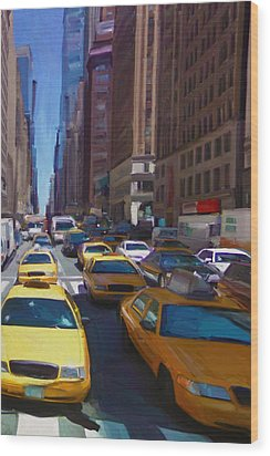 Wood Print featuring the painting 7th Avenue W36th Street Nyc by Nop Briex