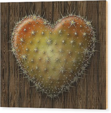 Cactus Heart Wood Print by James Larkin