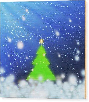Christmas Tree Wood Print by Atiketta Sangasaeng