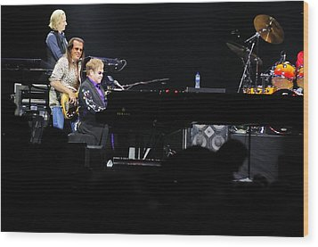 Elton John Wood Print by Jenny Potter
