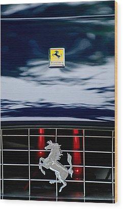 Ferrari Hood Emblem Wood Print by Jill Reger